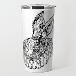 RABBIT / HARE in a jabot. psychedelic / zentangle style Travel Mug