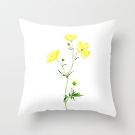 yellow buttercup flower watercolor Throw Pillow