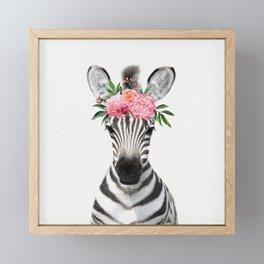Baby Zebra with Flower Crown Framed Mini Art Print