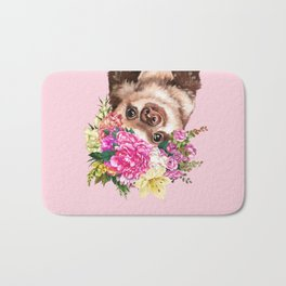 Flower Crown Baby Sloth in Pink Bath Mat