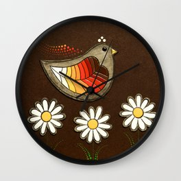 bird with three daisies Wall Clock