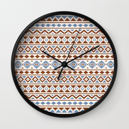 Aztec Essence Pattern II Rust Blue Cream Wall Clock