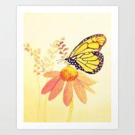 Butterfly on Coneflower in Summer by Twelve Little Tales Art Print