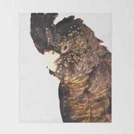 Black cockatoo illustration Throw Blanket