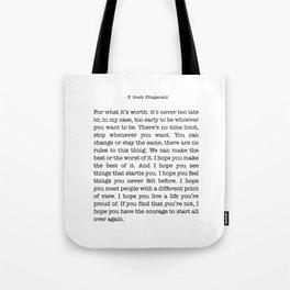 F. Scott Fitzgerald Tote Bag