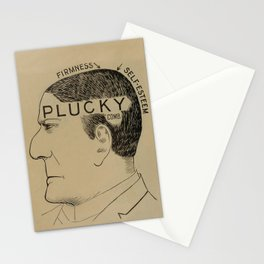 Plucky - Vintage Art Print - Phrenology Diagram from Vaught's Practical Character Reader (1902) Stationery Cards
