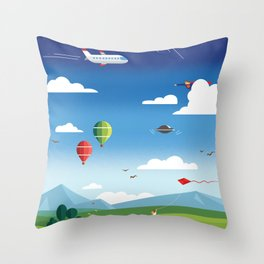 Fly to the sky Throw Pillow