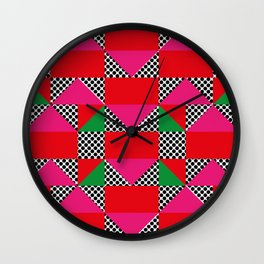 Houses with a Red Body and a Pink Roof, in a dotted synthetic grass. Wall Clock