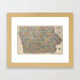 Vintage Map of Iowa (1875) Framed Art Print