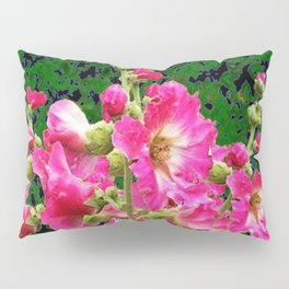 Fuchsia Pink Rose Color Holly Hocks Pattern Floral Art Pillow Sham