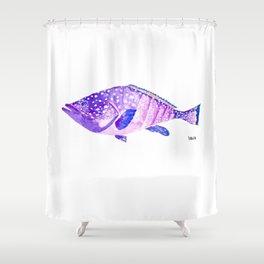 Grouper - violet big fish - mérou - gros poisson Shower Curtain