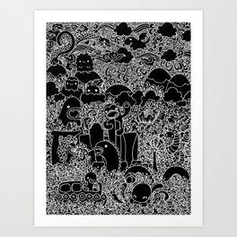 Oodles of Doodles of Singapore (Black) Art Print