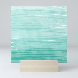 Mint & White Water breeze stripes Mini Art Print