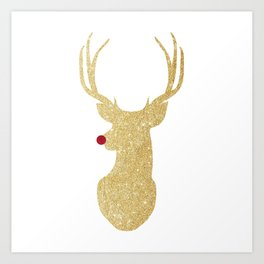 Rudolph The Red-Nosed Reindeer | Gold Glitter Art Print