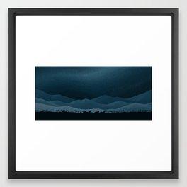 Midnight Mountain Village Framed Art Print
