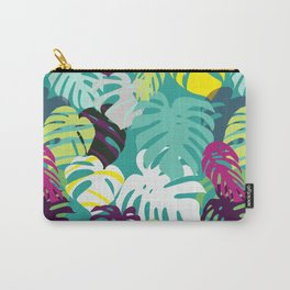 Tropical summer with monstera leaves in vibrant color palette Carry-All Pouch