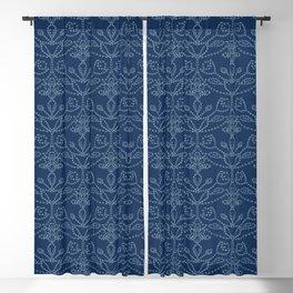 Damask motif sashiko stitch pattern. Blackout Curtain