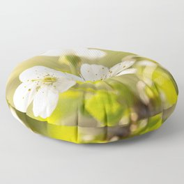 Beautiful cherry blossom on a vivid green background - summer atmosphere Floor Pillow