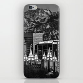 Salt Lake City Downtown Winter Skyline - Black And White iPhone Skin