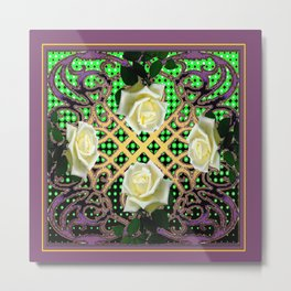 PUCE ORNATE WHITE ROSE GARDEN  TAPESTRY Metal Print