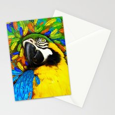 Gold and Blue Macaw Parrot Fantasy Stationery Cards