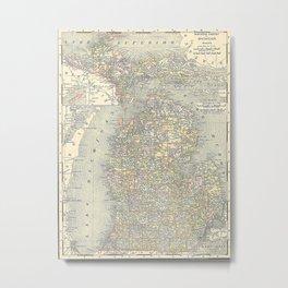 Vintage Map of Michigan (1901) Metal Print