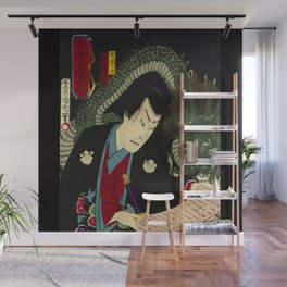 Dragon with a Warrior in Japan wood print Wall Mural