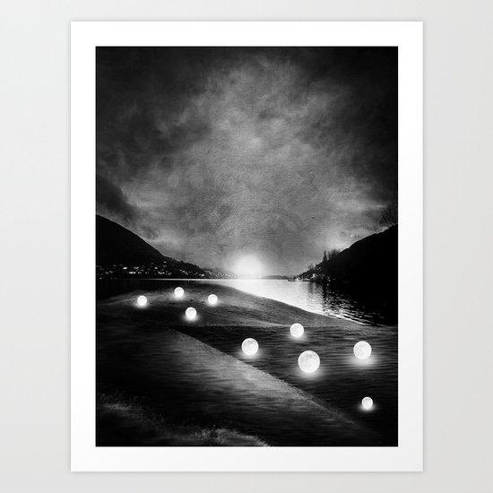 Field of lights (B&W) Art Print