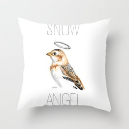 Snow Angel (Snow Bunting) Throw Pillow
