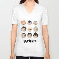 haikyuu V-neck T-shirts featuring Haikyuu!! by parkers