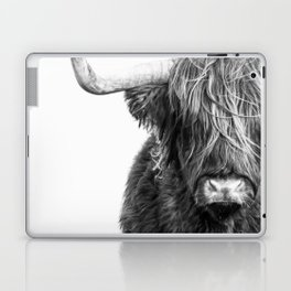 Highland Cow Portrait - Black and White Laptop & iPad Skin