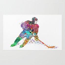 Girl Ice Hockey Sports Art Print Rug