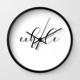 Exhale:  a pretty, minimal, typographic piece in black and white Wall Clock