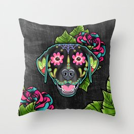 Labrador Retriever - Black Lab - Day of the Dead Sugar Skull Dog Throw Pillow