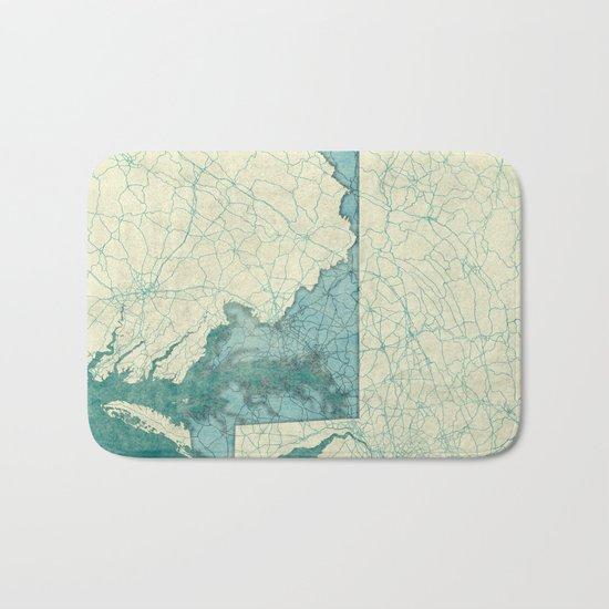 Maryland State Map Blue Vintage Bath Mat
