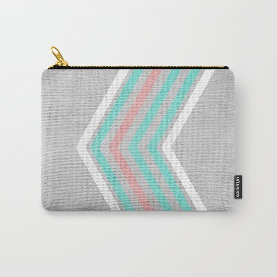 Teal, Pink and White Chevron on Silver Grey Wood Carry-All Pouch