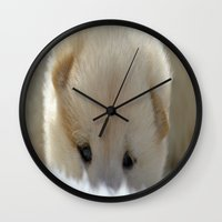 shiba inu Wall Clocks featuring Shiba Inu Puppy by Blue Lightning Creative