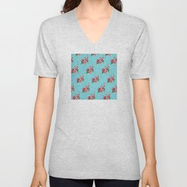 Français Red Floral Design on Aqua-Blue Unisex V-Neck