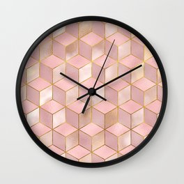 PINK CHAMPAGNE GRADIENT CUBE PATTERN (Gold Lined) Wall Clock