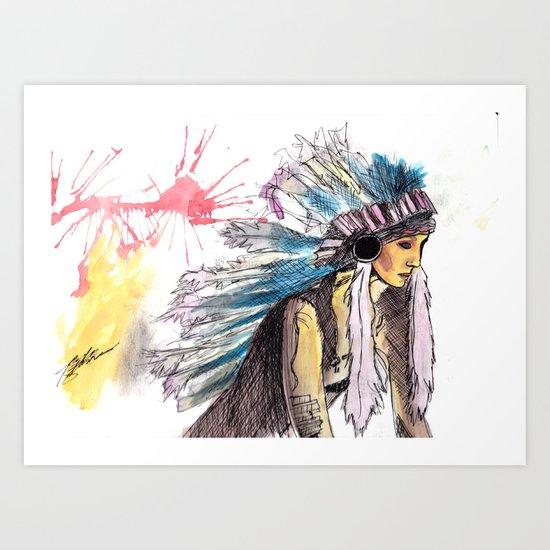 Young Warrior Dreams Art Print
