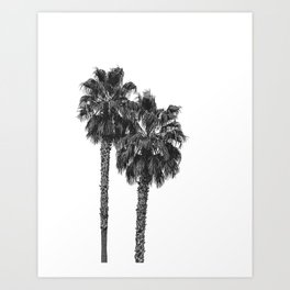 Dos Palmeras // Tropical Black and White Palm Tree Photography California Nature Ocean Vibes Art Print