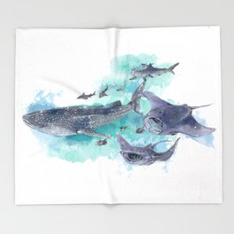 Star Sharks & Rays Throw Blanket