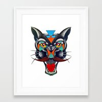 panther Framed Art Prints featuring panther by Ronan Holdsworth