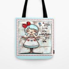 Made with Love - Heart String Tugger Tote Bag