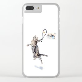 Cat Playing Tennis Clear iPhone Case