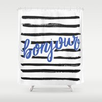 bonjour Shower Curtains featuring Bonjour! by magicmaia