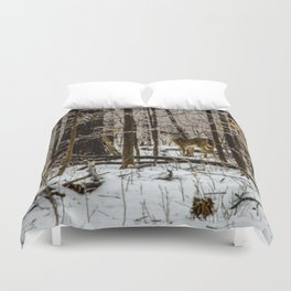 Deer in the Glistening Forest by Teresa Thompson Duvet Cover