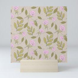 Vintage Rose Illustration // Hand Drawn Botanicals, Vintage Flowers and Leaves // Old Rose and Green Mini Art Print