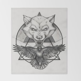 Wolf and Crow - Emblem Throw Blanket