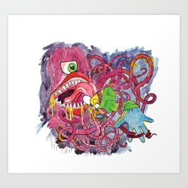 Attack of the tentacle monster!!!! Art Print